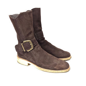 Arche Brown Nubuck Midcalf Zip Boots w/ Crepe Sole